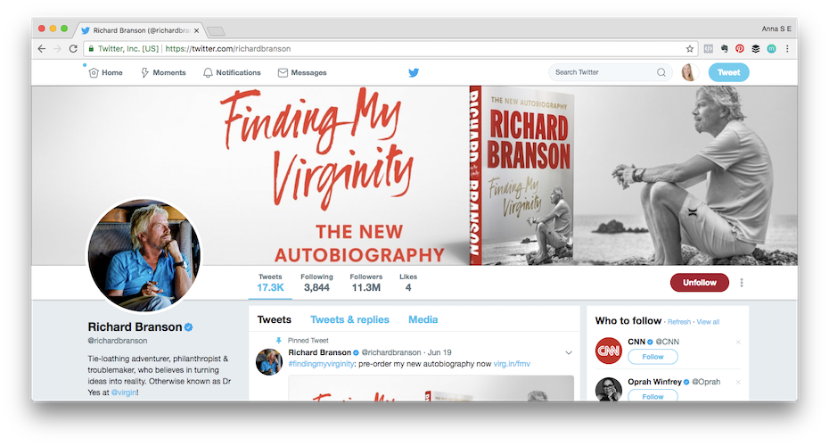 Personal brand example: Screen shot of Richard Bransons Twitter profile