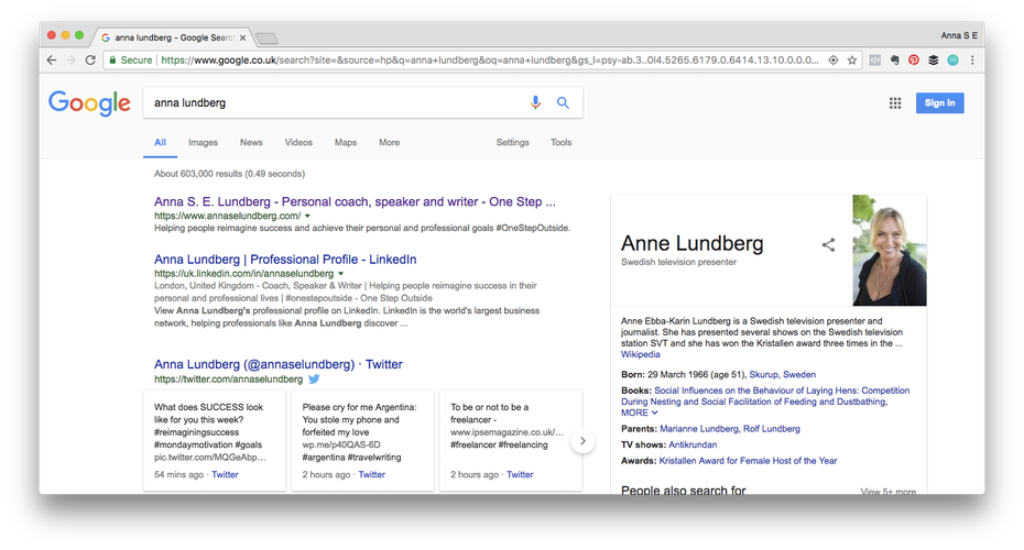 Personal brand example: A google search for anna lundberg