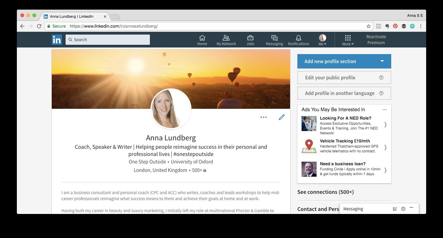 An example LinkedIn profile