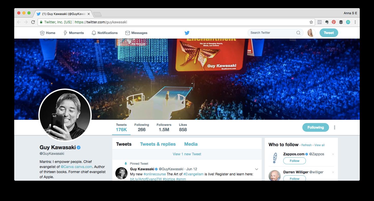 Screenshot of Guy Kawasaki's Twitter profile