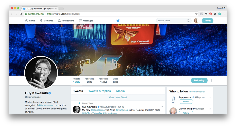 Personal brand example: Screenshot of Guy Kawasakis Twitter profile