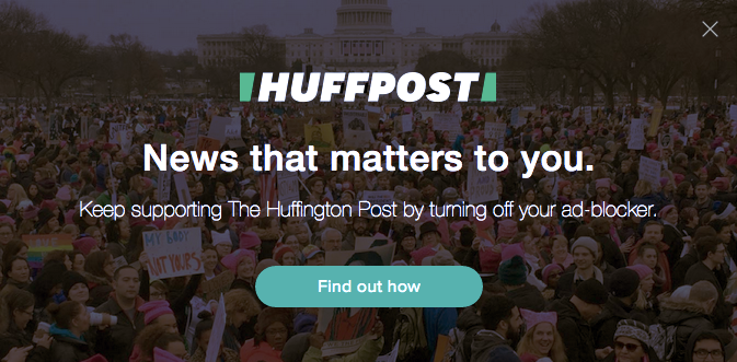 Screenshot from Huffington Post