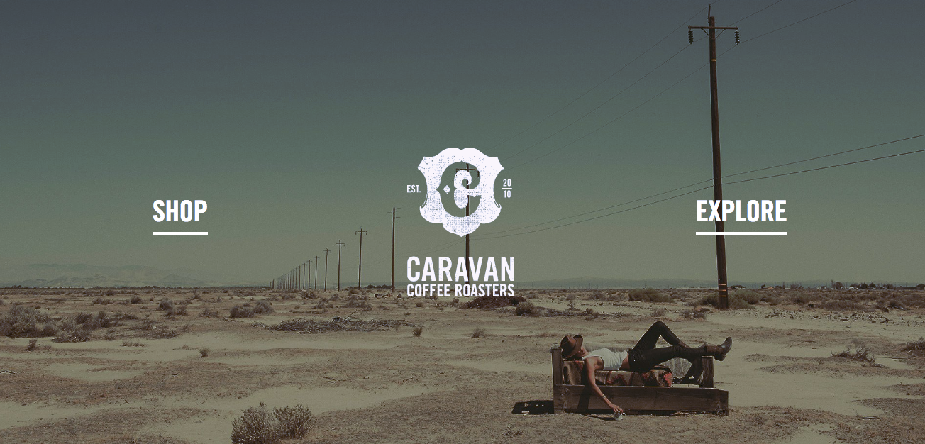 Screenshot of the Home Page for Caravan Coffee Roasters