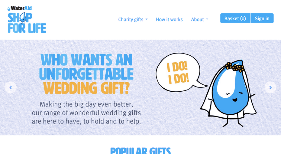Screenshot of the home page for WaterAid.