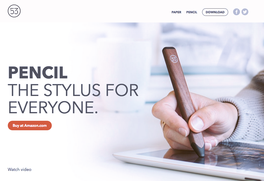 Screenshot of the home page for the Pencil Stylus.