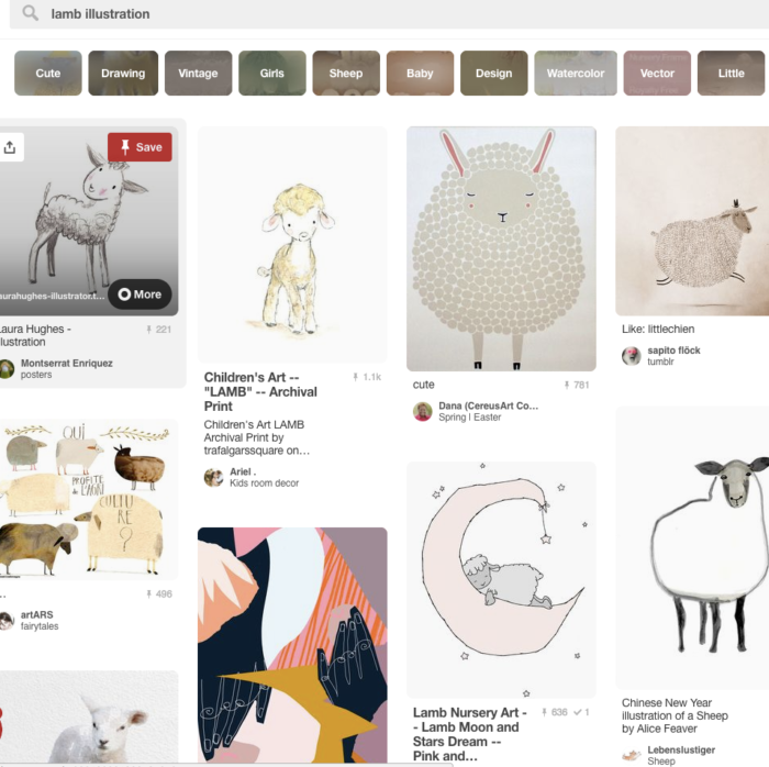 "Screen shot of Pinterest search for ""lamb illustration."""