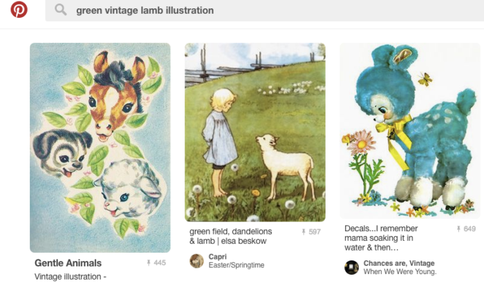 "Screen shot of results from Pinterest search for ""vintage green lamb illustration."""