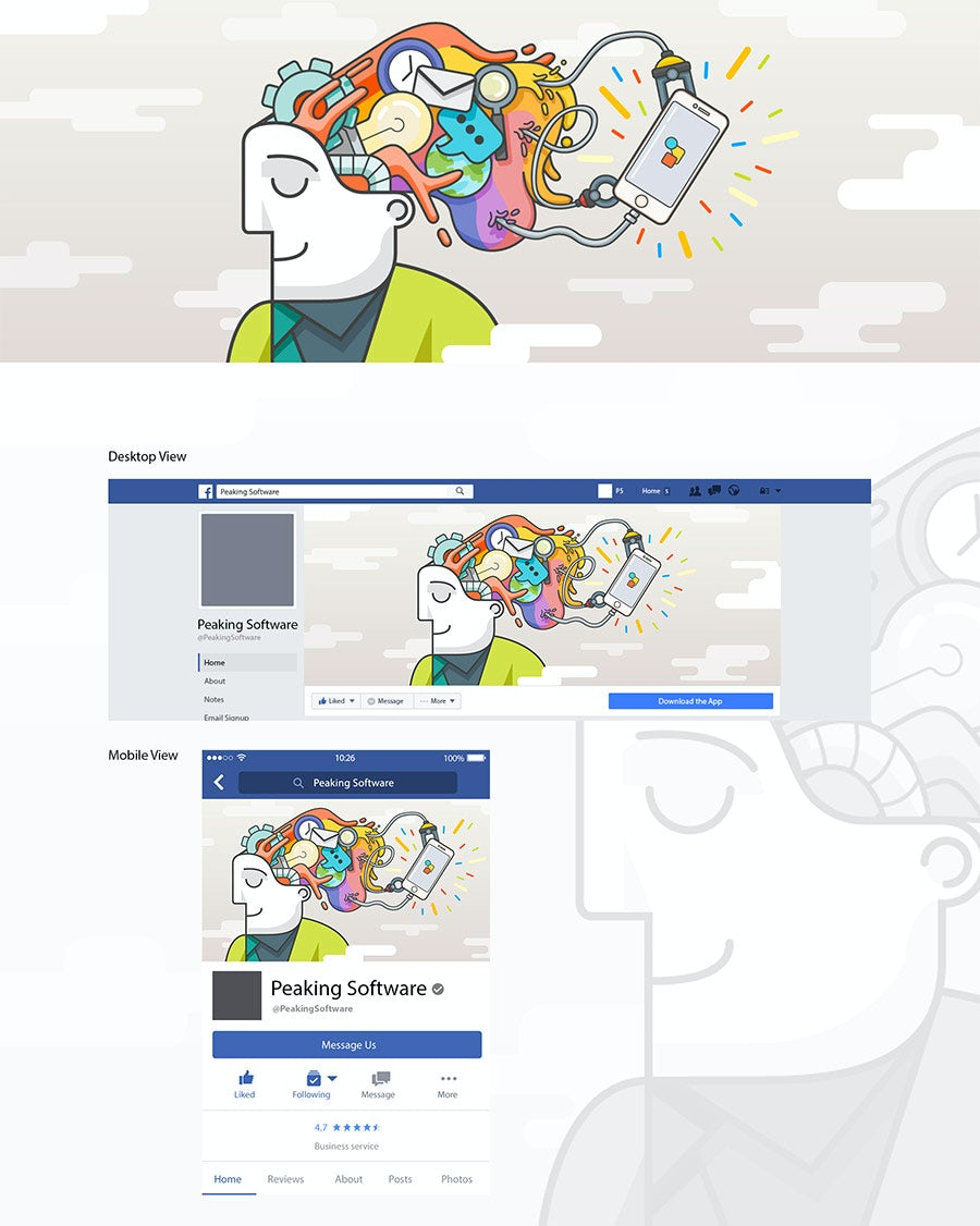 flat design facebook cover