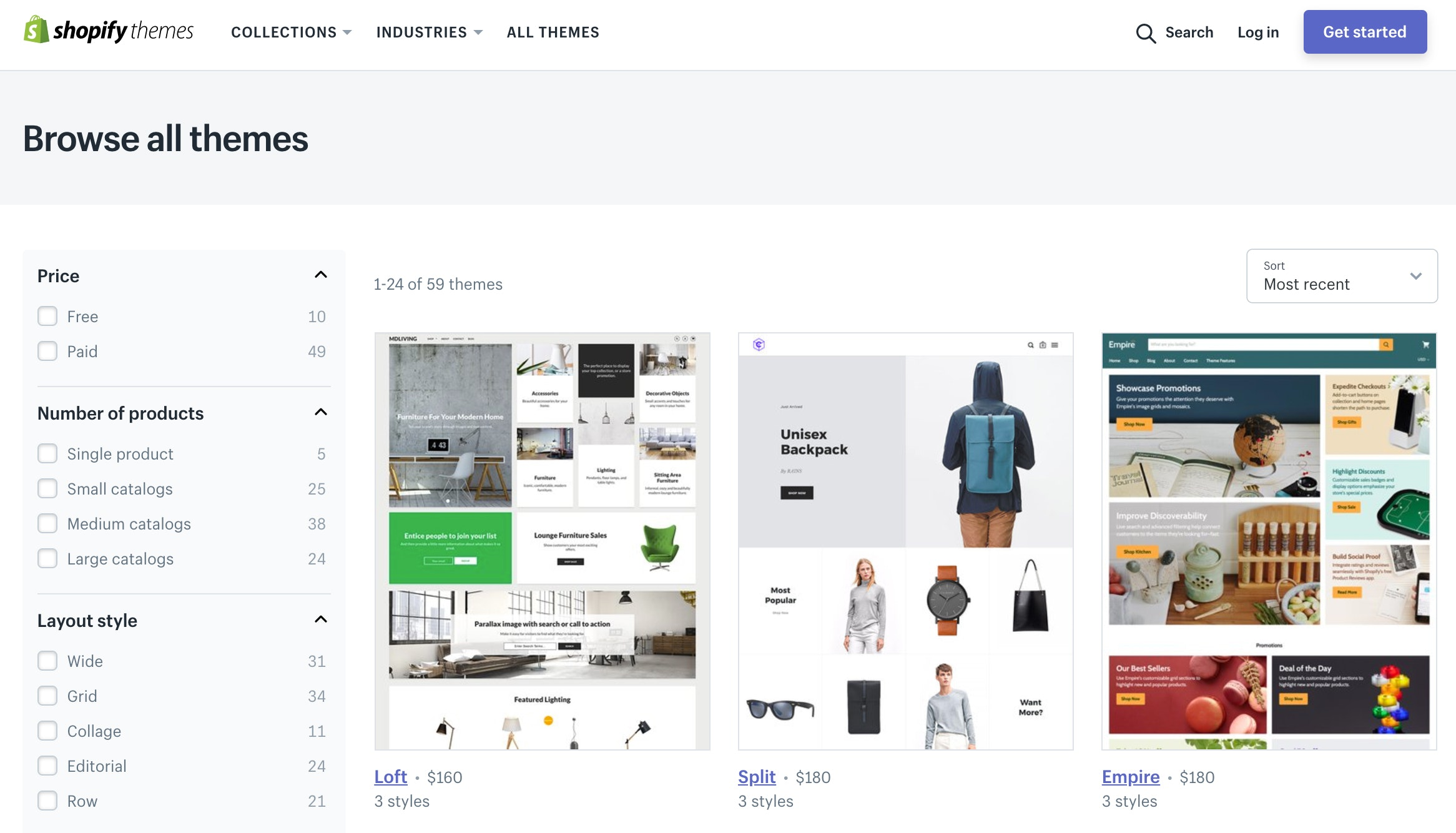 shopify theme gallery