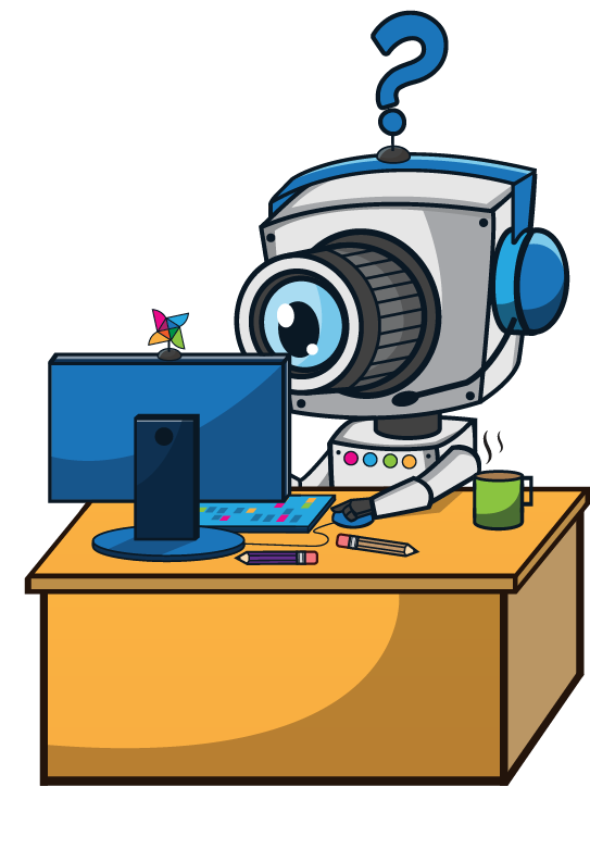 Character illustrations showing a robot at work
