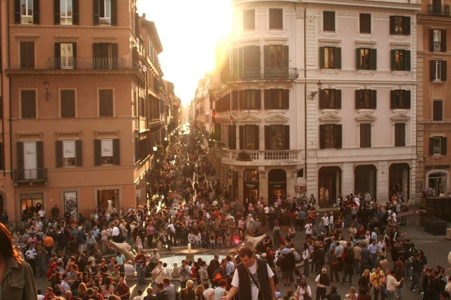 Photo of people gathering during sunset from Pixel.