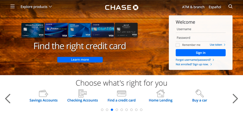Captura de pantalla del sitio web de Chase Bank.