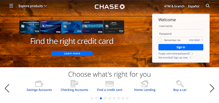 Screenshot from the website of Chase Bank.