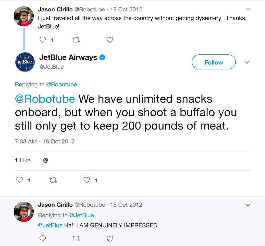 JetBlue customer response tweet