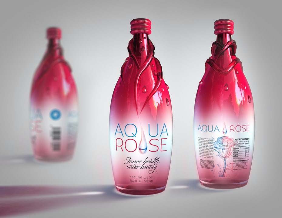 Aqua Rose 3D bottle Design