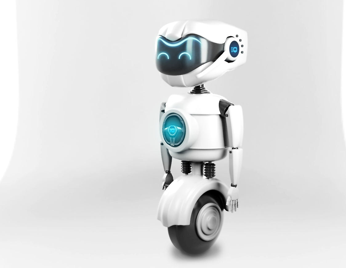 A 3D model of a friendly robot