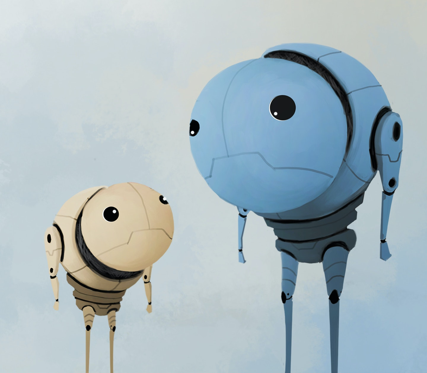 An illustration showing two robot friends