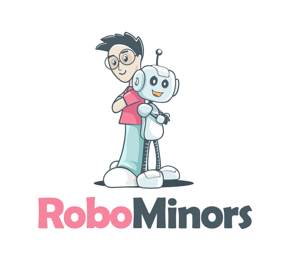 A logo design showing robots and humans working together