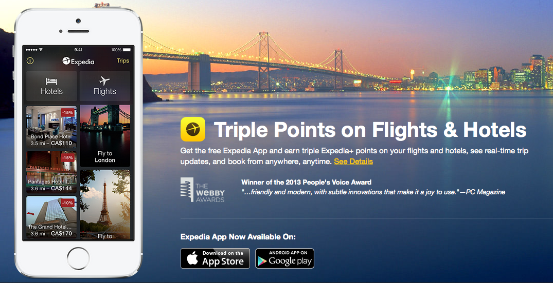 An advertisement for the Expedia app