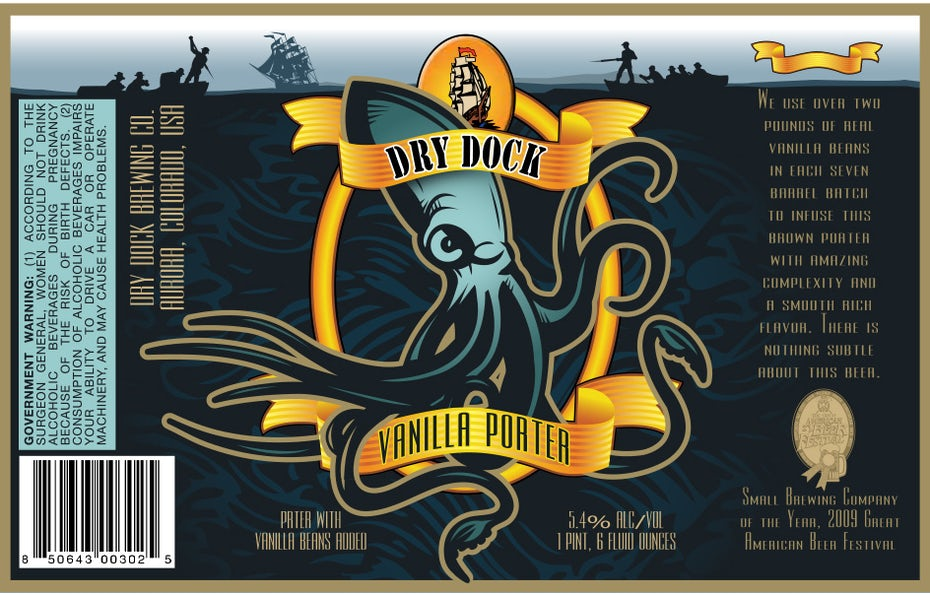 Beer label for Dry Dock Vanilla Porter