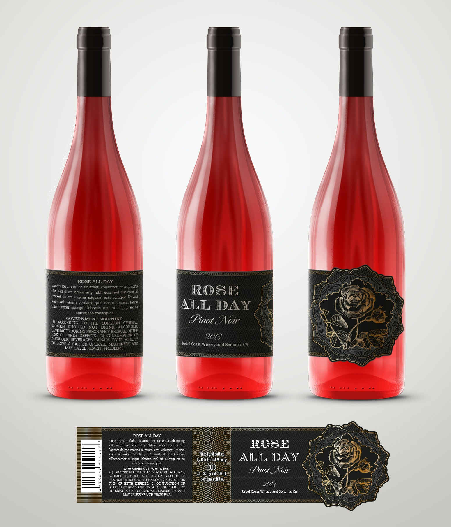 Wine label with foil and die-cutting