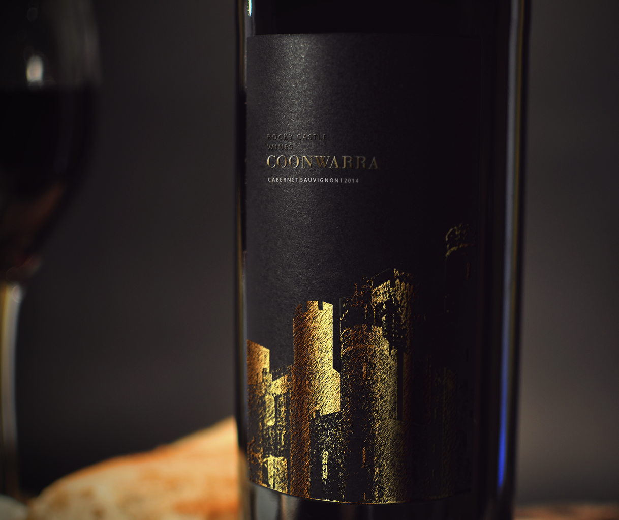 Modern black and gold wine label