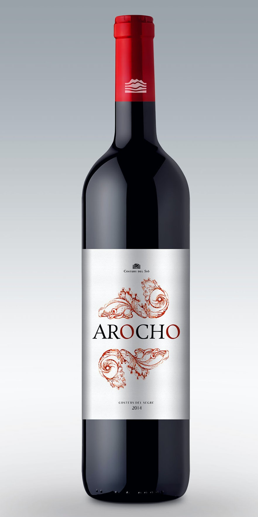 Bold and red traditional wine label