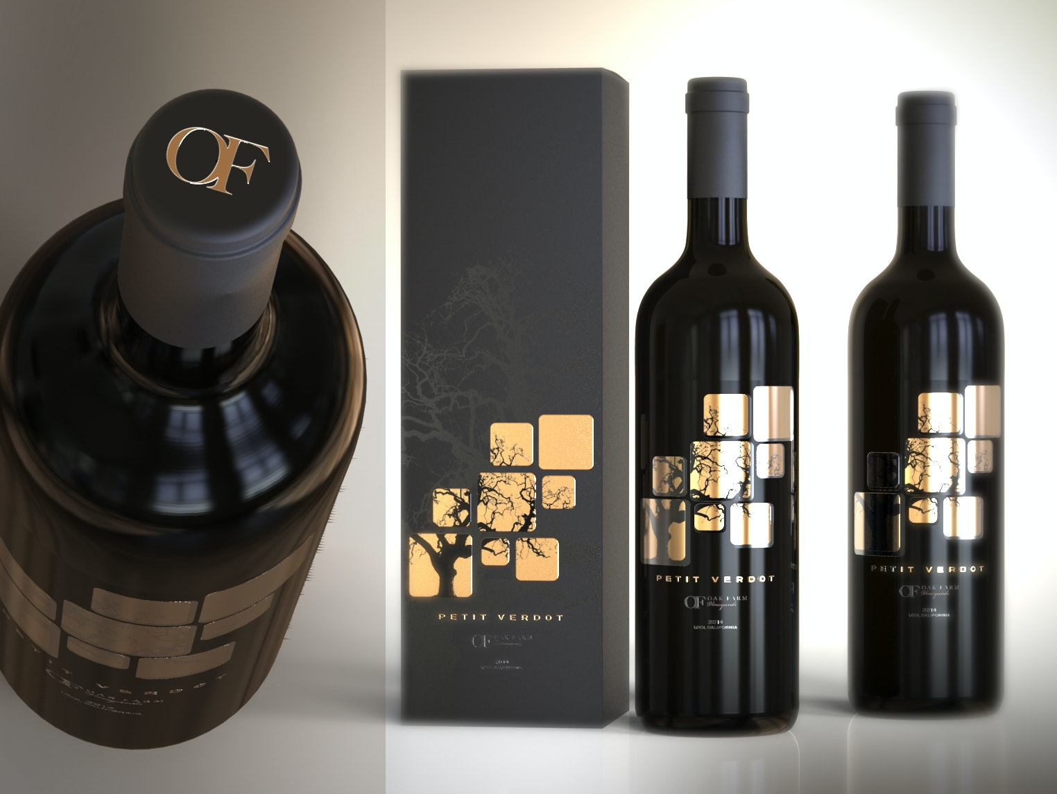 Wine label with hot foil elements