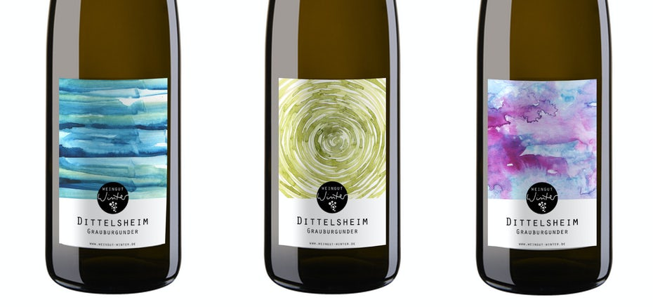 Wine labels with traditional, light bright colors