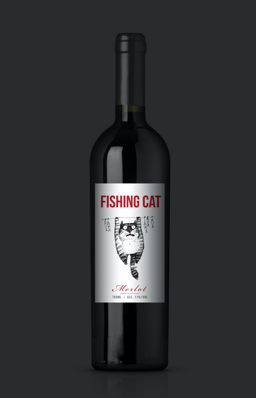 Fishing cat modern wine label