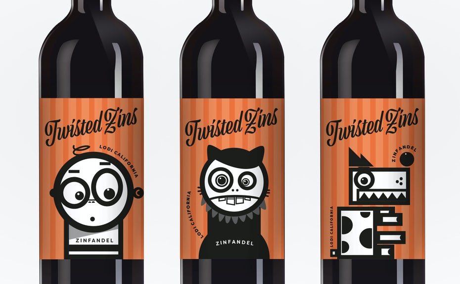 A fun, modern, cartoon-style wine label
