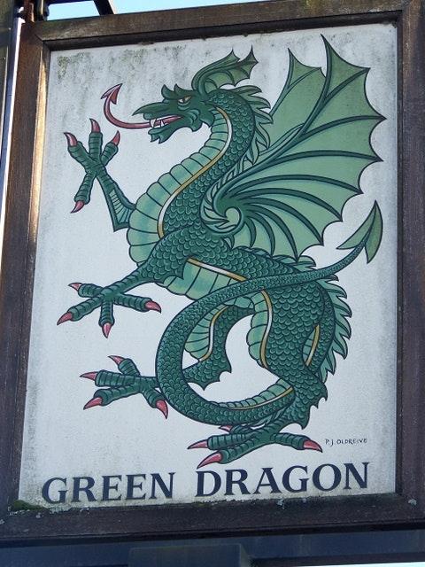 green dragon pub sign