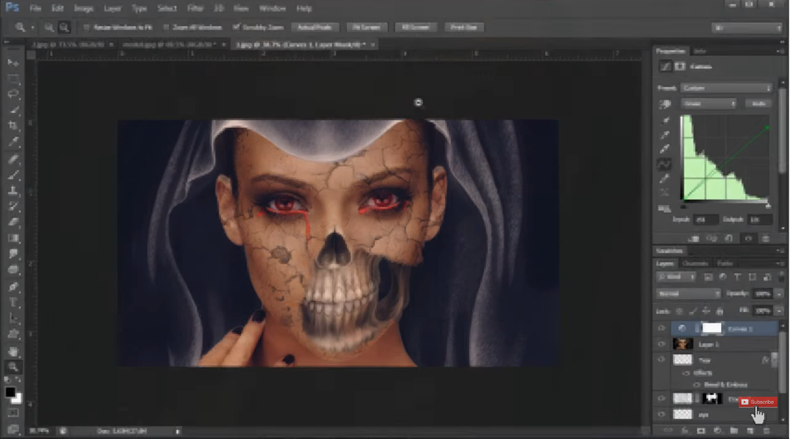Photoshop makeup tutorial skull