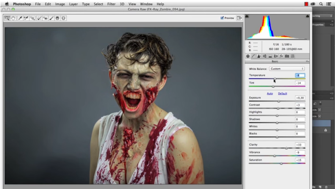 Zombie makeup in Photoshop