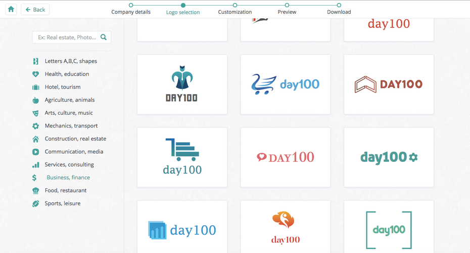 day100 logos mit logo maker logo genie