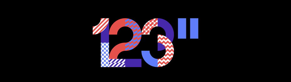 Logo composed of masked patterns of color