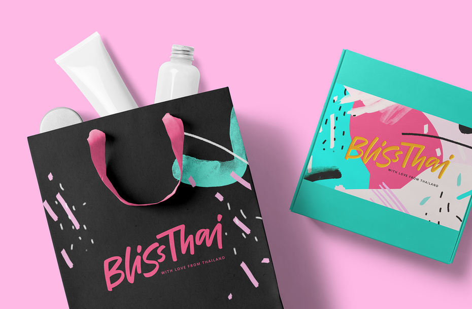 Bliss Thai's 80's inspired brand identity