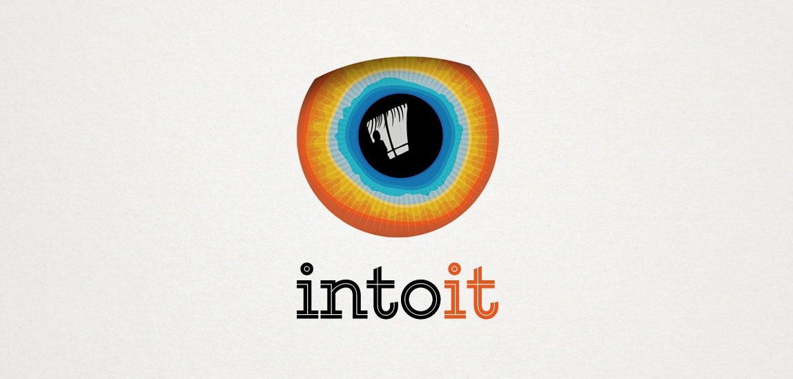A logo featuring a multicolored iris with a hidden image inside
