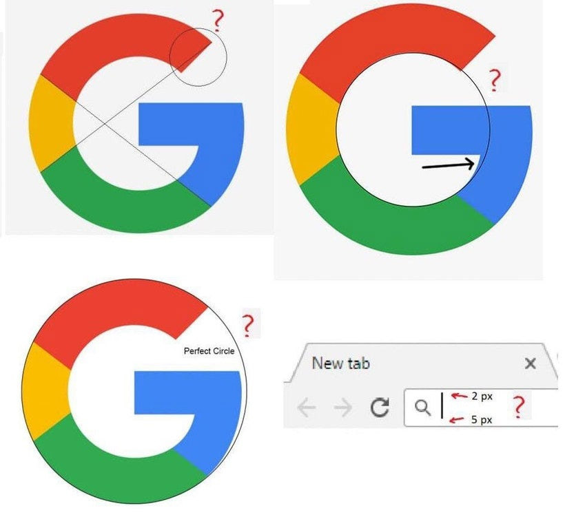 Image showing the geometrical discrepancies with the Google logo