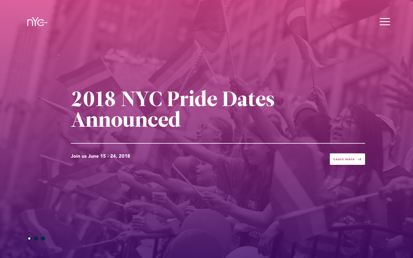 NYC Pride webpage screenshot