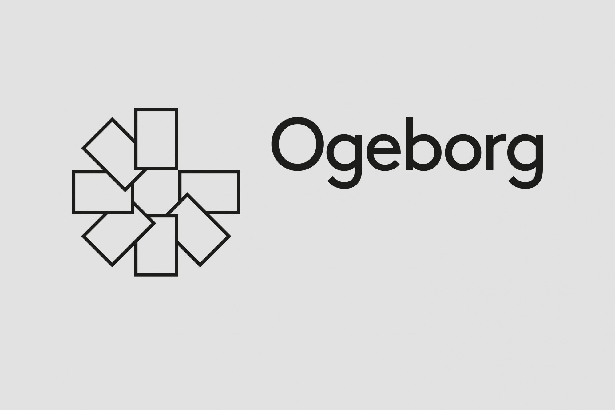 Logo with geometric form in shape of color swatches