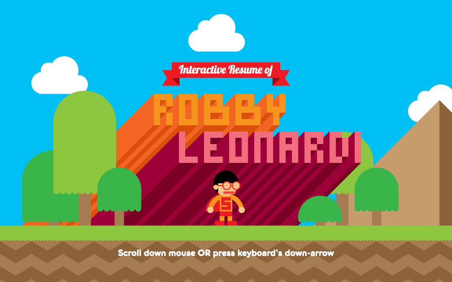 The game inspired interactive resume of Robby Leonardi screenshot