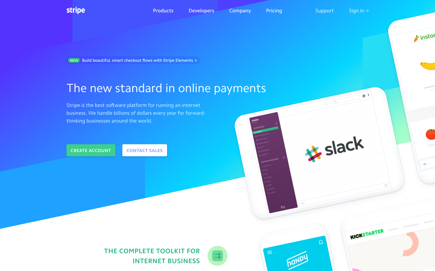 Stripe webpage screenshot
