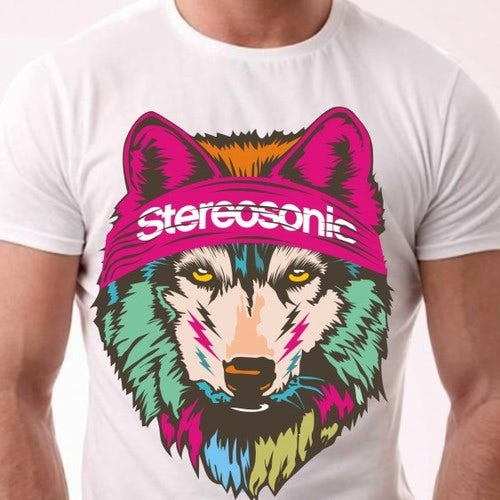 Colorful wolf t shirt design