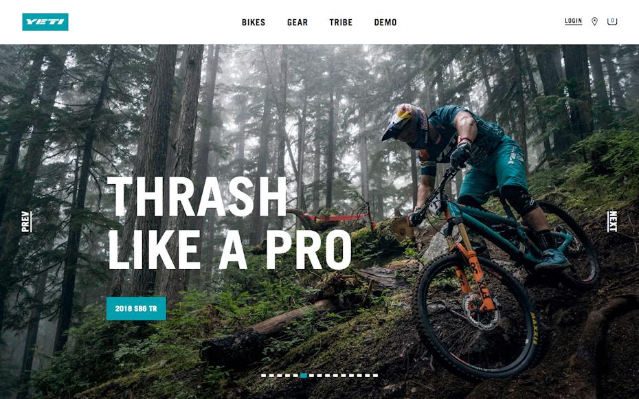 Yeti Cycles website screenshot