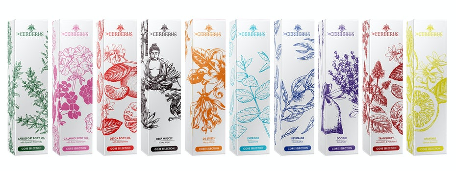 cosmetics packaging with detailed drawings of flowers, fruit and leaves in several different colors