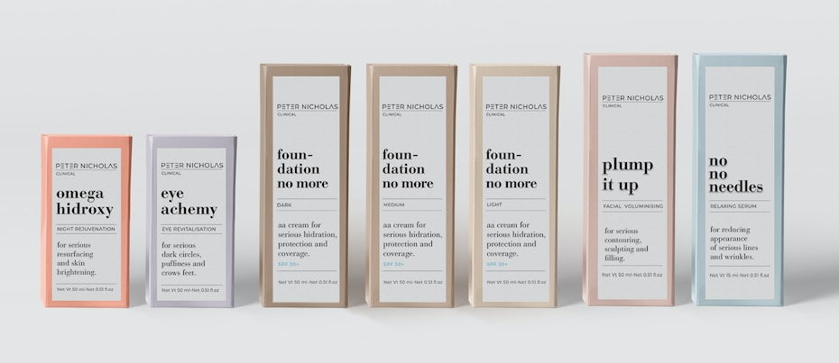 minimal beauty packaging in different pastel colors and serif fonts
