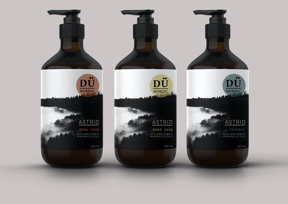 soap label design with monochrome nature imagery