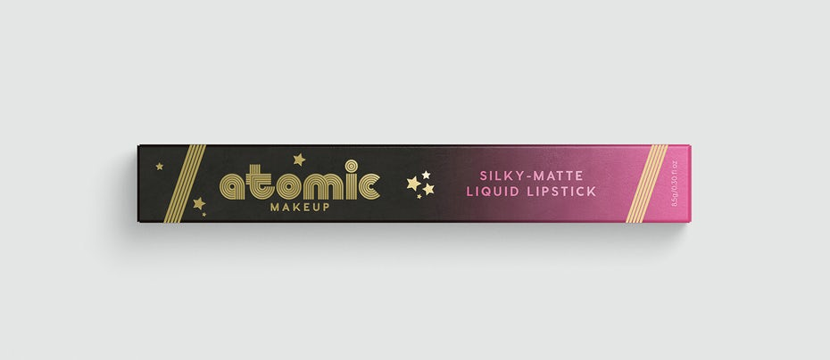 lipstick packaging with retro inspired typography and stars