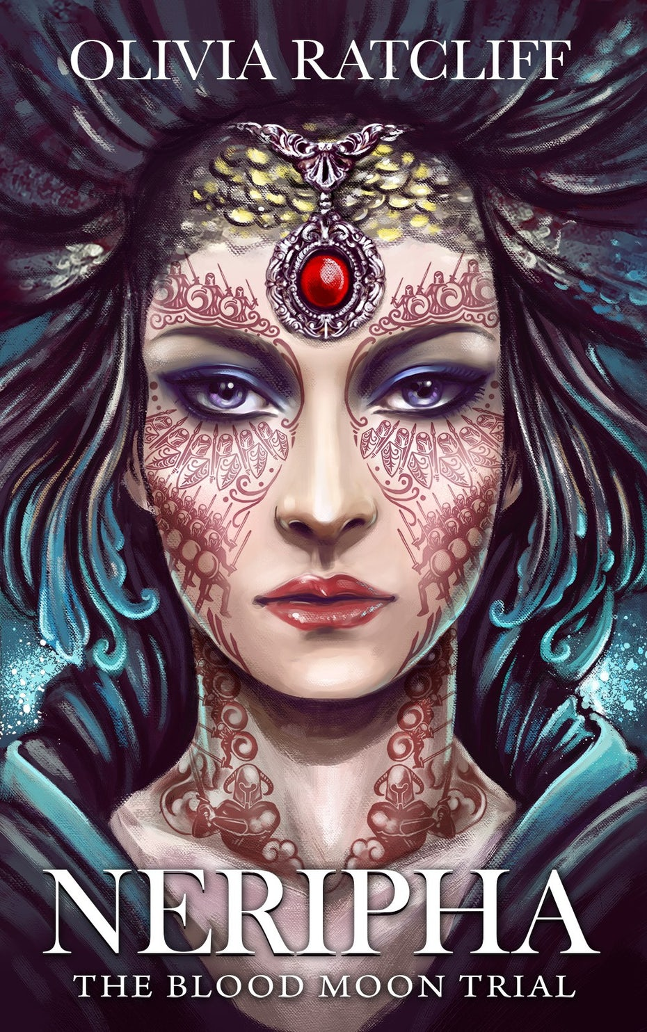 A portrait illustration of a fantasy empress for a book cover